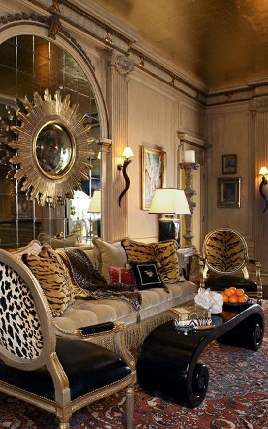 Animal Print Living Room Decor Elegant Opulent A Little Over the top but Has some Great Ideas
