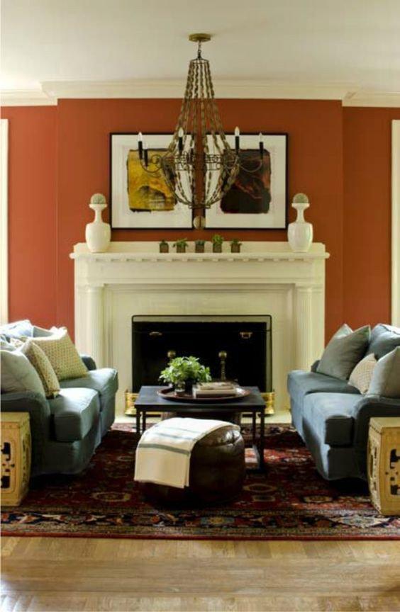 Burnt orange Living Room Decor Beautiful Burnt orange Wall Close Enough for Us Decorology