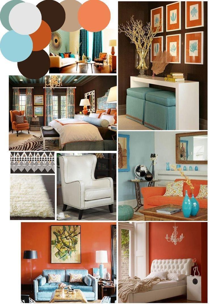 Burnt orange Living Room Decor Fresh Burnt orange and Blue Decor