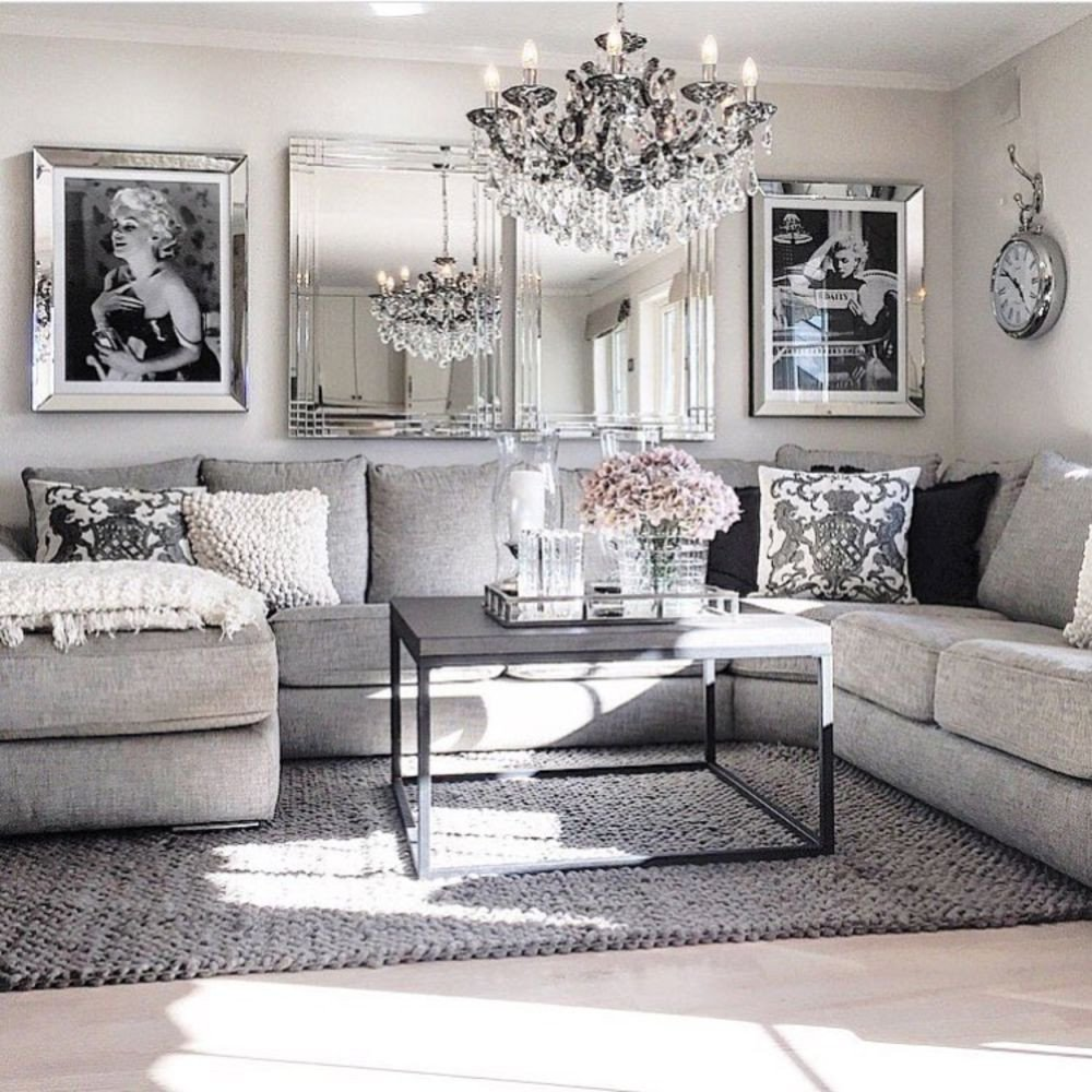 Grey Living Room Decor Ideas Awesome Modern Glam Living Room Decorating Ideas 19