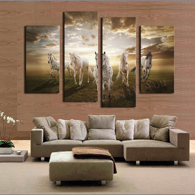 Horse Decor for Living Room Lovely 2017 Real Paintings Unframed Running Horse Hd Home