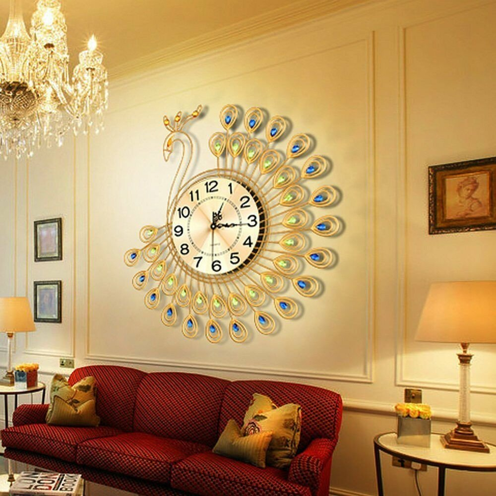 Large Living Room Wall Decor Best Of Us Creative Gold Peacock Wall Clock Metal Living