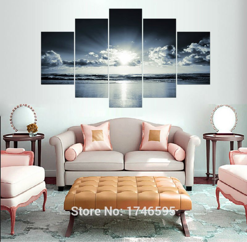 Large Living Room Wall Decor New Big Size Modern Home Decor Painting White Black Ocean