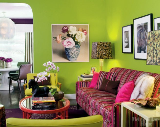 Lime Green Living Room Decor Beautiful In A Modern Meets Retro Living Room Lime Green Walls Mix