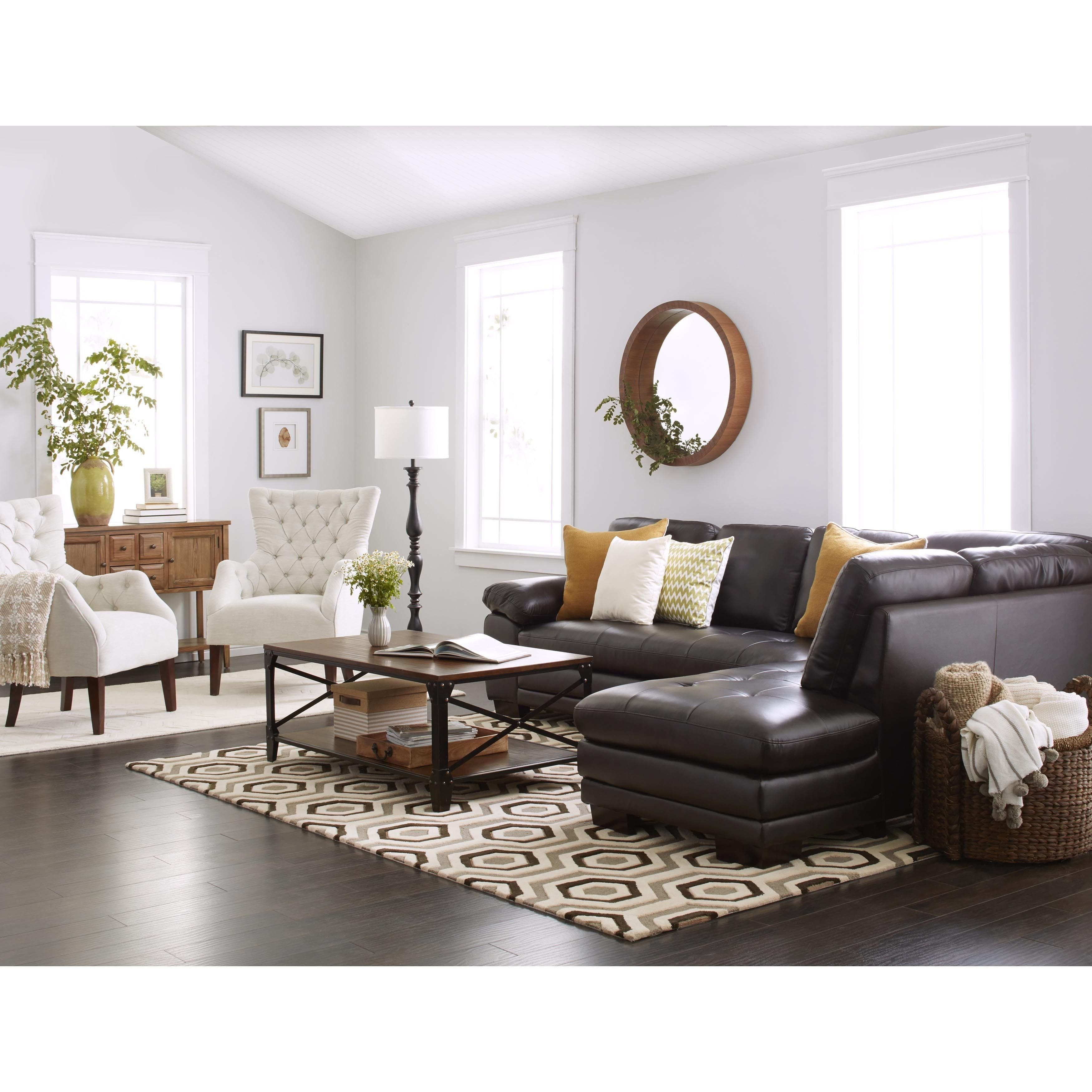 Living Room Decor with Sectional New Abbyson Devonshire Leather Tufted Sectional In 2019