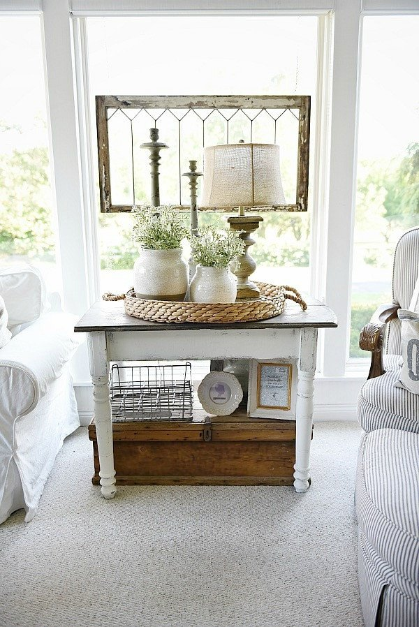 Living Room End Table Decor Beautiful White Farmhouse End Table