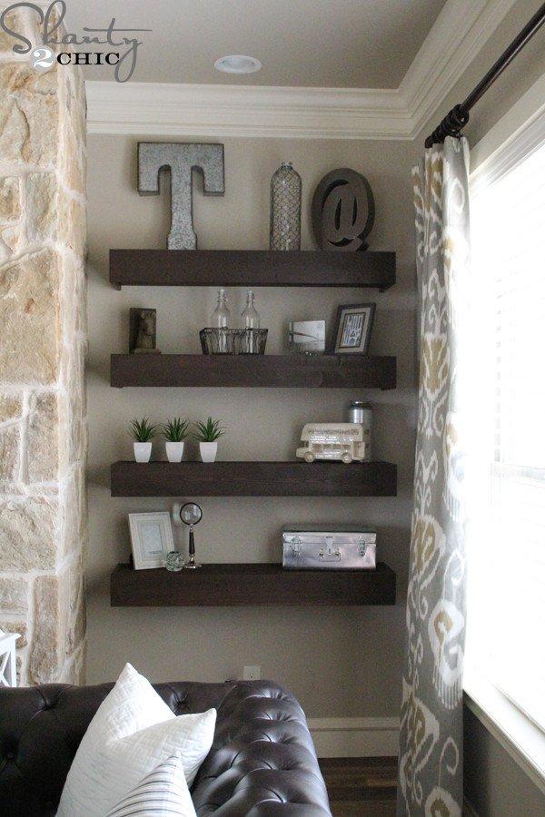 Living Room Ideas Shelves New Diy Floating Shelves for My Living Room Shanty 2 Chic