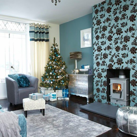 Living Room Ideas Teal Luxury Festive Teal and Silver Living Room Scheme