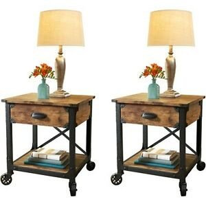 Living Room Side Table Decor Beautiful Pair Rustic Country End Tables Antique Vintage Metal Wood