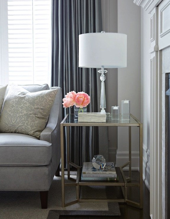 Living Room Side Table Decor Elegant Brass and Glass End Table Transitional Living Room