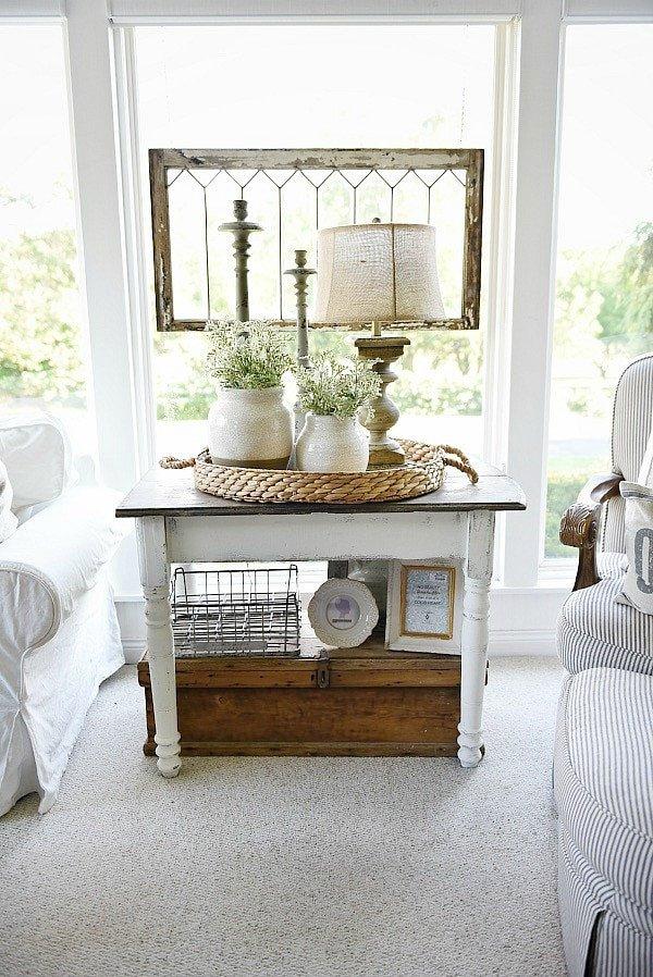 Living Room Side Table Decor Elegant White Farmhouse End Table
