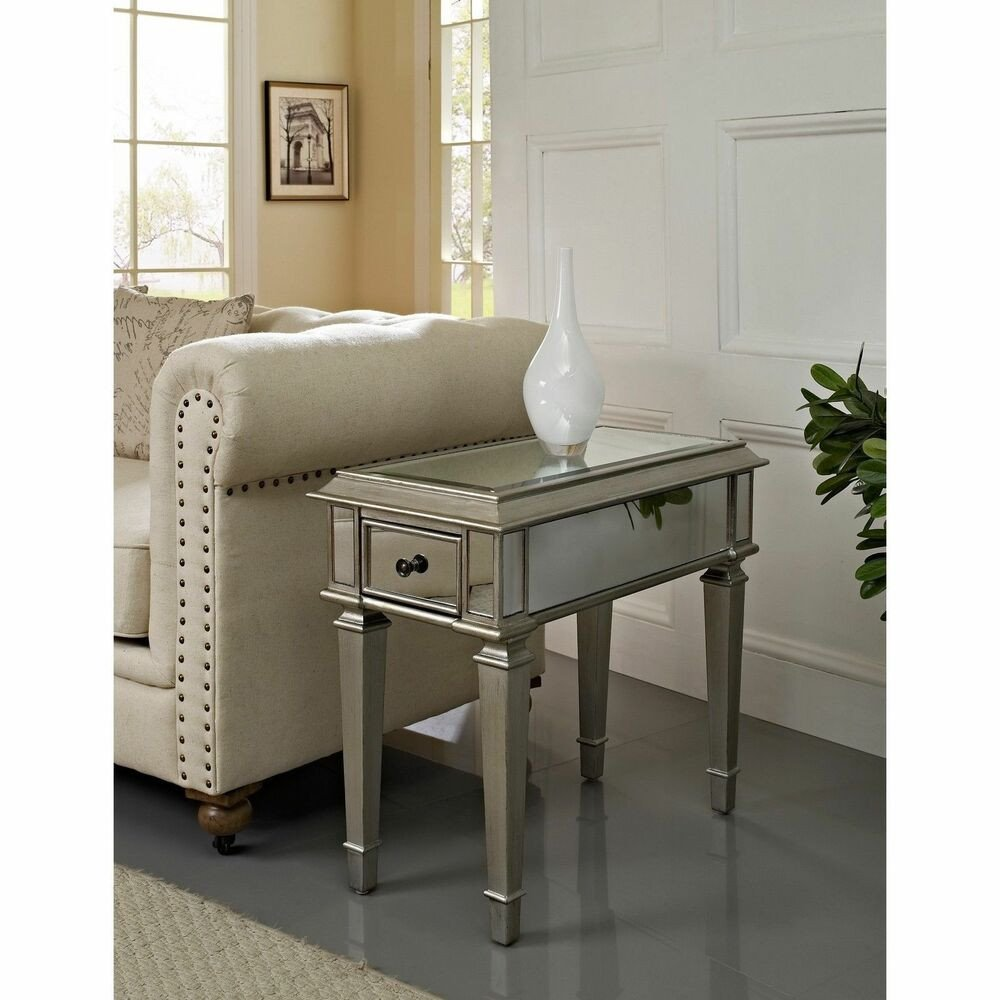 """Living Room Side Table Decor Luxury Home Bethany Mirrored """"side Table"""" Furniture Living Room"""