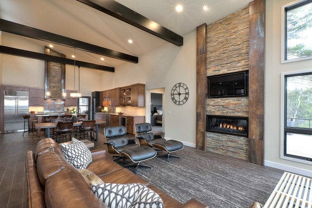 Modern Rustic Decor Living Room Awesome Rustic Modern Retreat Rustic Living Room Other by
