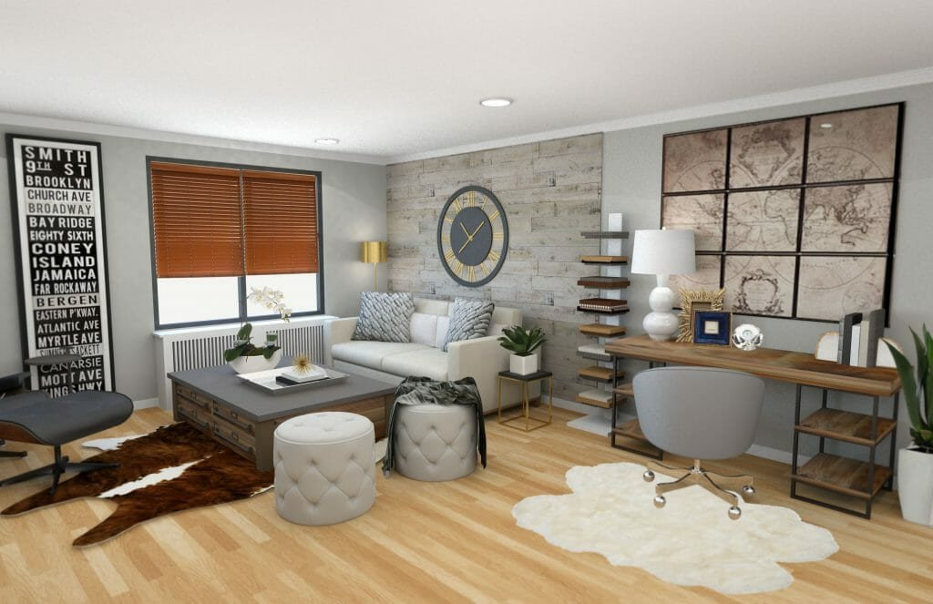 Before & After Modern Rustic Living Room Design line