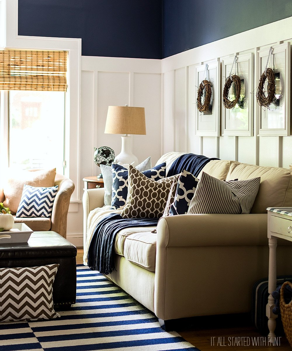 Navy Blue Living Room Decor Awesome Fall Decor In Navy and Blue