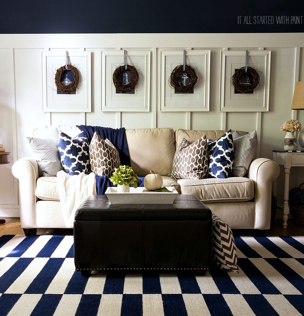 Navy Blue Living Room Decor Beautiful Fall Decor In Navy and Blue