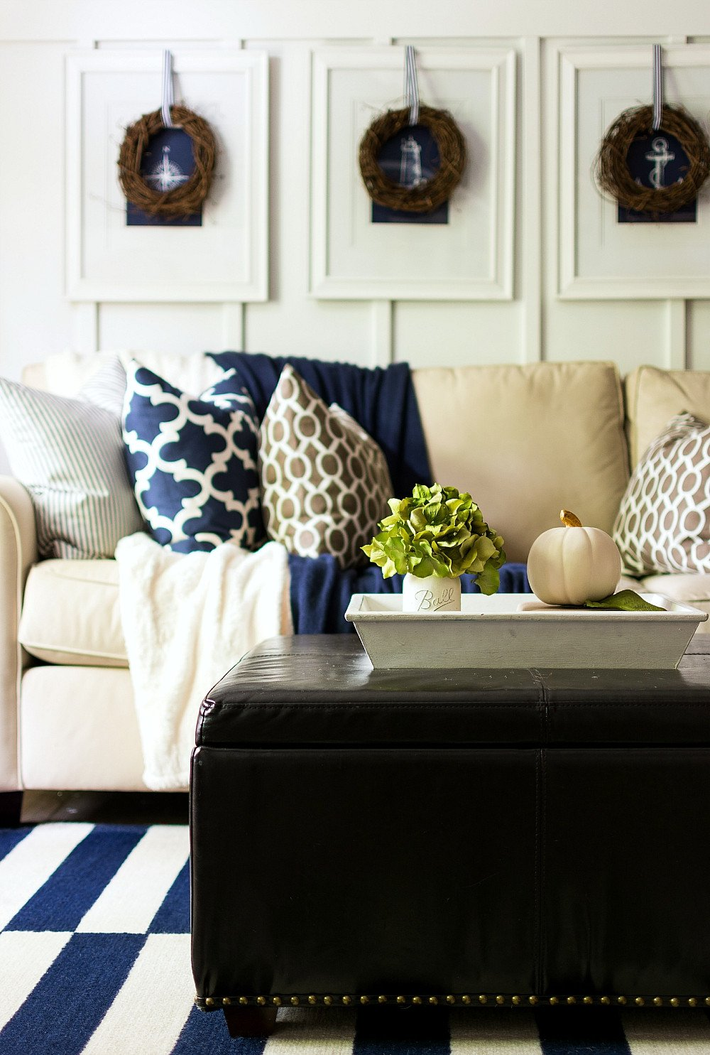 Navy Blue Living Room Decor Best Of Fall Decor In Navy and Blue