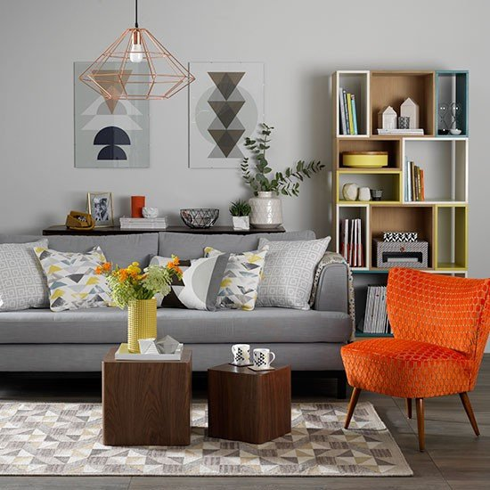 Orange Decor for Living Room Luxury Grey Living Room with orange Chair