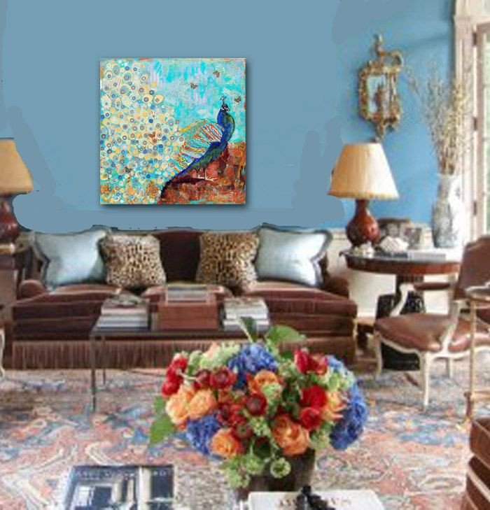 Peacock Decor for Living Room Lovely Blue Oversized Peacock Painting Turquoise Decor Huge Art