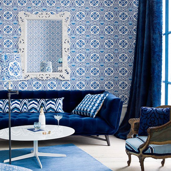 Royal Blue Living Room Decor Elegant Royal Blue Living Room with Feature Wall