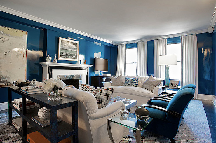 Royal Blue Living Room Decor Lovely Lacquered Walls Contemporary Living Room Christina