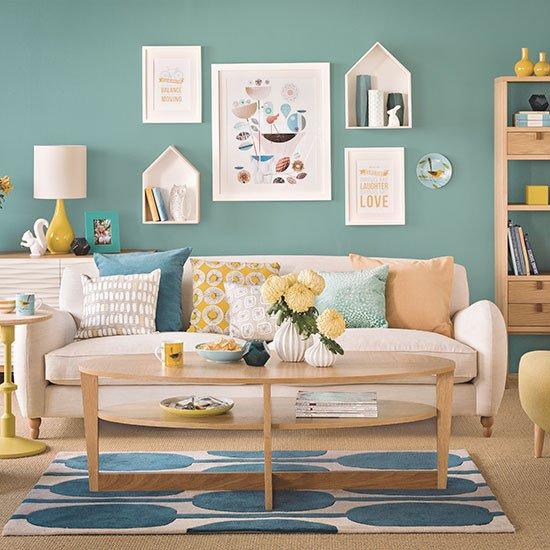 Teal Decor for Living Room Elegant Teal Blue and Oak Living Room Decorating