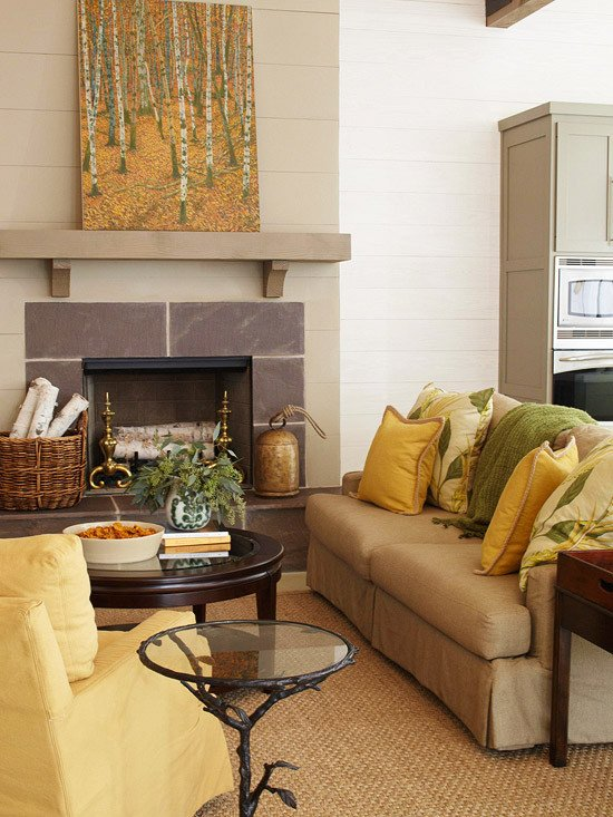 Yellow Decor for Living Room Unique theme Design 11 Living Room Fireplace Design Ideas